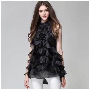 🌸 Black Layered Ruffle Organza Top